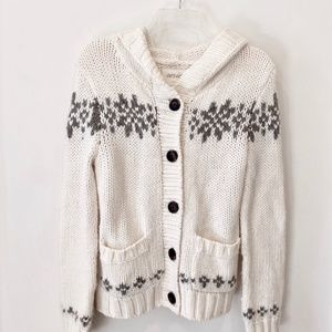 Aerie Chunky Knit Cardigan Hooded Sweater